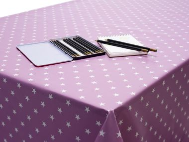 Lilac/Pink Little Stars PVC Vinyl Wipe Clean Tablecloth