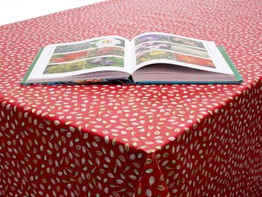 Red Little Leaves Floral PVC Vinyl Wipe Clean Tablecloth