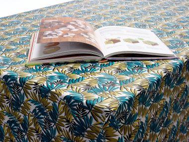 Aqua/Mustard Palm Leaves PVC Vinyl Wipe Clean Tablecloth