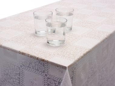 White Floral Lace Effect PVC Vinyl Wipe Clean Tablecloth
