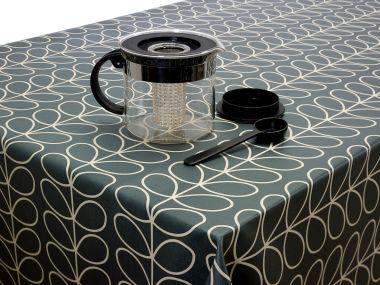 Orla Kiely Linear Stem Oilcloth Tablecloth Cool Grey