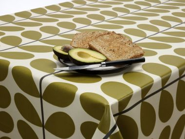 Orla Kiely Multi Stem Two Colour Black and Olive Wipe Clean Tablecloth