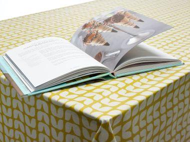 Retro Ochre Yellow Small Tulips Oilcloth Wipe Clean Tablecloth