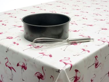 Pink and White Flamingoes PVC Vinyl Wipe Clean Tablecloth
