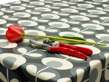 Orla Kiely Linear Grey Floral Matte Finish Oilcloth