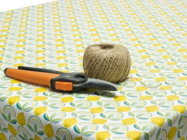 White and Yellow Lemons PVC Vinyl Wipe Clean Tablecloth