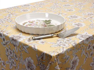 Ochre Traditional Floral PVC Vinyl Tablecloth