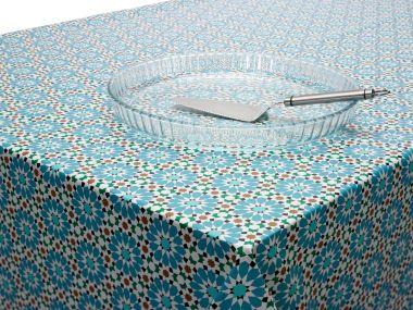 Duck egg Teal Floral Mosaic PVC Vinyl Wipe Clean Tablecloth