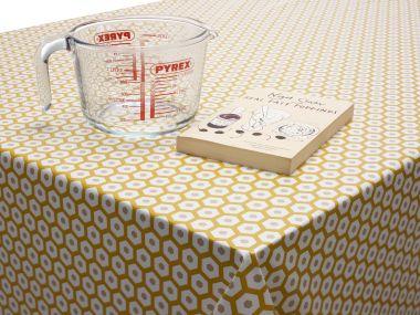 Ochre Yellow Honeycomb Geometric PVC Vinyl Wipe Clean Tablecloth