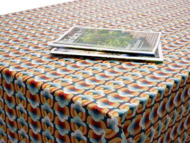 Duck egg and Mustard Art Deco PVC Vinyl Wipe Clean Tablecloth