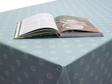 Grey/Duck Egg Small Geometric Snowflakes Christmas PVC Vinyl Wipe Clean Tablecloth