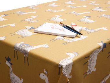 Ochre Yellow Alpacas Oilcloth Matt Finish Wipe Clean Tablecloth