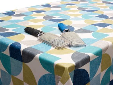 Duck Egg, Grey and Sage Green Circles Oilcloth Matt Finish Wipe Clean Tablecloth
