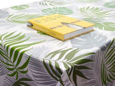 Grey and Green Tropical Leaves PVC Vinyl Wipe Clean Tablecloth