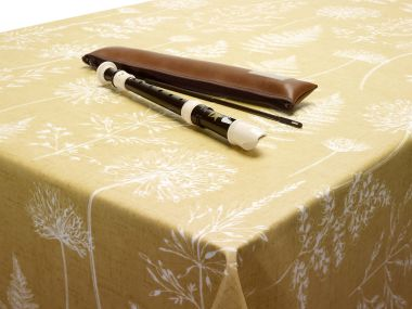 Chervil Ochre/Mustard Meadow Floral Oilcloth Matte Finish Wipe Clean Tablecloth
