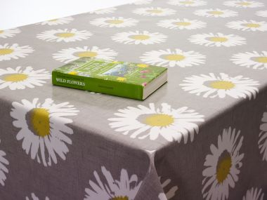 Grey and White Daisy Capri Chartreuse Floral Oilcloth Wipe Clean Tablecloth