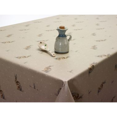 Rabbits / Hares Natural Beige Oilcloth Wipe Clean Tablecloth Matte Finish 220cm Round with Centre Seam