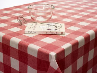 Red Large Gingham Check Oilcloth Wipe Clean Tablecloth