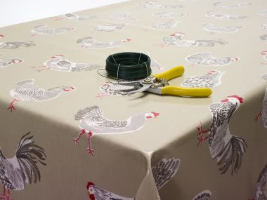 Sage Chickens Roosters Oilcloth Tablecloth