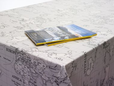 Grey World Atlas Map Oilcloth Wipe Clean Tablecloth