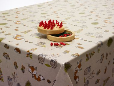 Beige Foxes and Owls Oilcloth Fabric