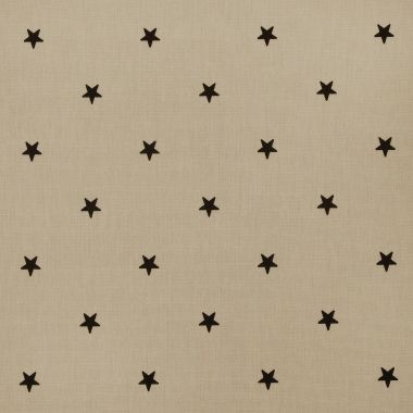Taupe and Black Star Oilcloth Wipe Clean Tablecloth