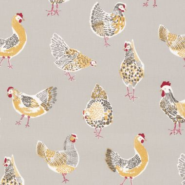 Taupe Chickens Oilcloth Wipe Clean Tablecloth with Taupe Bias Binding Edging - 120cm Round