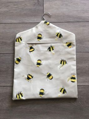 Taupe Honey Bees Wipe Clean Oilcloth Peg Bag