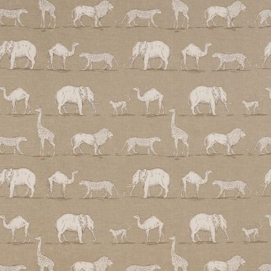 Taupe Prairie Safari Animals Matte Finish Wipe Clean Oilcloth Tablecloth