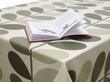 Orla Kiely Linear Multi-Stem Warm Grey Oilcloth 180cm Round With Centre Seam