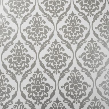 Large White and Silver Damask PVC Vinyl Wipe Clean Tablecloth