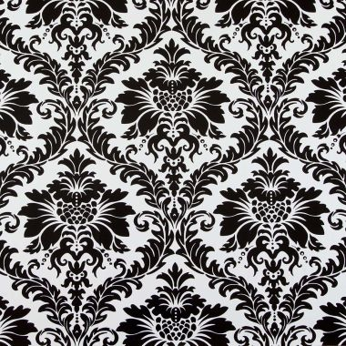 Black and White Damask PVC Vinyl Tablecloth