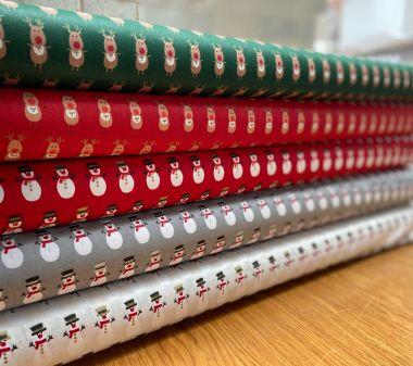 100% Cotton Christmas Fabric-Santa, Snowman, Reindeers