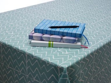 Duck Egg Green Zig-Zags Chevron Oilcloth Wipe Clean Tablecloth Matte Finish with White Bias Binding Hemmed Edging - 132cm x 180cm Rectangle