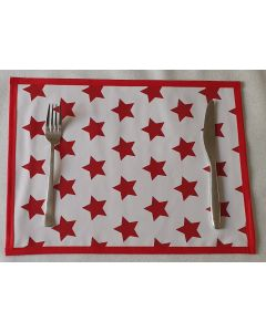 White & Red Star/Red Glitter PVC Vinyl Wipe Clean Double Sided Set of Placemats