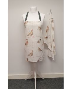 Natural Game Birds Apron and Optional Tea Towel Gift Set