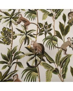 Natural Tropical Monkeys 100% Cotton Curtain and Upholstery Fabric