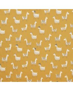 Alpacas Ochre Yellow 100% Cotton Curtain and Upholstery Fabric