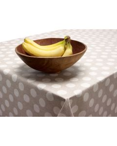 Beige Natural Linen Polka Dot PVC Vinyl Wipe Clean Tablecloth