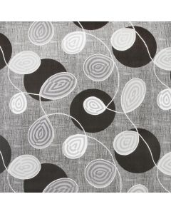 Black White Grey Floral Swirl PVC Tablecloth