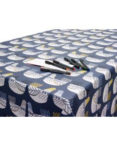 Yellow Scandinavian Birds Oilcloth