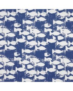 Blue and White Fish Oilcloth Wipe Clean Tablecloth