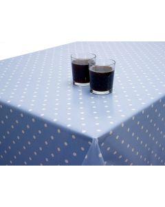 Dotty Powder Blue Polka Dot Oilcloth Wipe Clean Tablecloth