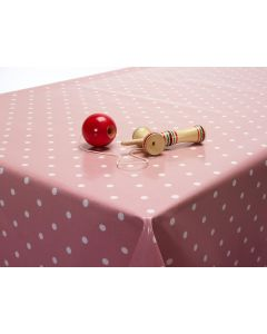 Dotty Rose Polka Dot Oilcloth Wipe Clean Tablecloth