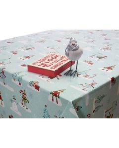 Duck Egg Elves and Snowmen Christmas Oilcloth Wipe Clean Tablecloth
