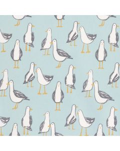 Duck Egg and White Seagulls Nautical 100% Cotton Curtain and Upholstery Fabric