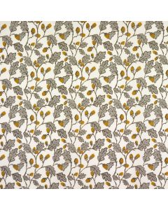 Cream and Grey Acorns and Leaves Oilcloth Wipe Clean Tablecloth