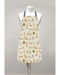 Beige Foxes and Owls Adult or Child Oilcloth Wipe Clean Apron