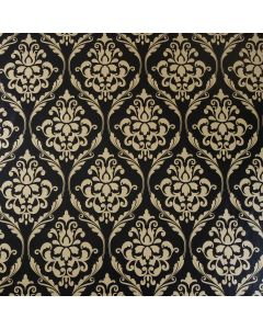 Large Black and Gold Damask PVC Vinyl Wipe Clean Tablecloth