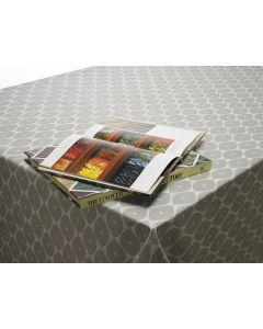 Grey Geometric Ovals PVC Vinyl Wipe Clean Tablecloth